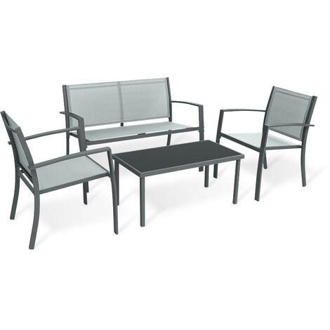 Mobili da giardino per esterni Cancun, composti da 1 divano da giardino per esterni, 2 poltrone da giardino per esterni e 1 tavolo da giardino, textilene, grigio