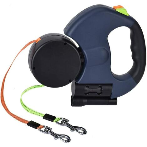 Double Retractable Leash for 2 Dogs, 3M Double Leash with LED Light and Leash Dispenser