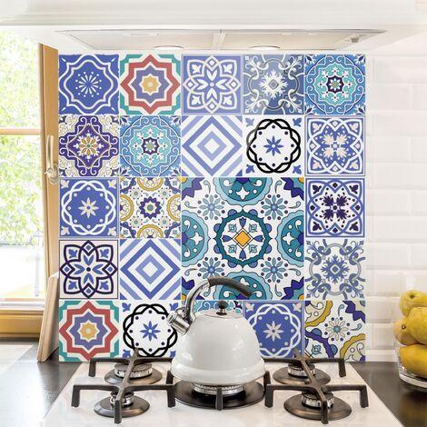 Paraschizzi in vetro - Mirror Tiles - Elaborate Portuguese Tiles - Quadrato 1:1 Dimensione L×H: 59cm x 60cm