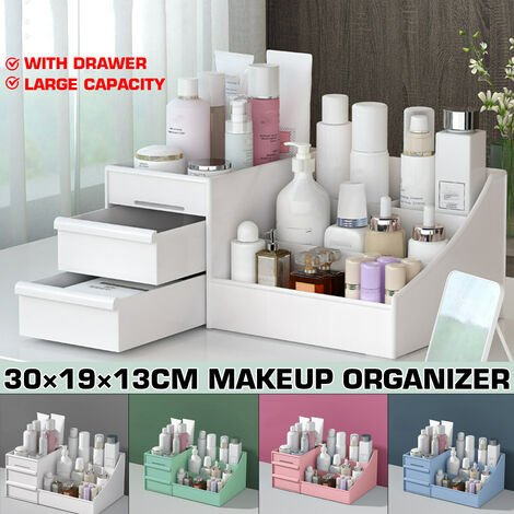 Dressing Box Cosmetic Organizer Makeup Organizer Transparent Desk Large Capacity Drawer Built-in Skin Care Products Lipstick Makeup Storage Box (Pink, Normal Quality)