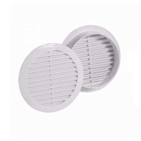 2 pezzi GRIGLIA DI AERAZIONE IN PLASTICA TONDA DA INCASSO diam. 100 mm CON RETE