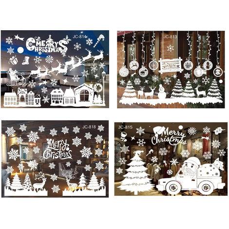 Décorations Noël Flocon Neige Adhère à la Fenêtre Ornements, Amovible DIY Porte De Fenêtre De Noël Renne & Flocon Neige Sticker Mural Stickers Muraux Fête De Noël Décorations Maison De Vacances (4pcs)