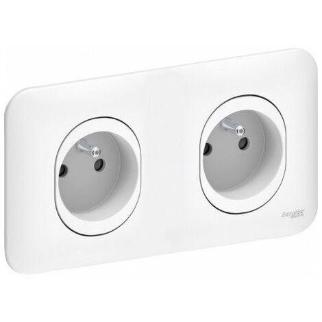 Ovalis Double prise de courant pré-câblée / Griffes, Schneider Electric réf. S262069