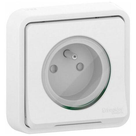 Mureva Styl prise de courant encastré IP55 IK08 blanc, Schneider Electric réf. SHN0212468