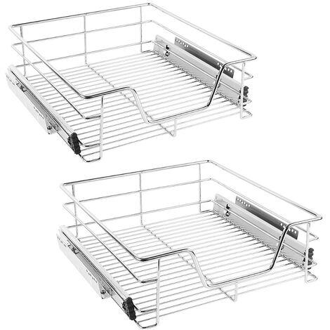 2 tiroirs de rangement téléscopiques - lot de 2 tiroirs, tiroirs coulissants cuisine, paniers coulissants cuisine - 50 cm