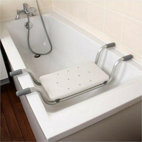 Siège de baignoire - siège de bain suspendu réglable - tabouret de salle de bain - dim. 73-83L x 22l x 18H cm - blanc