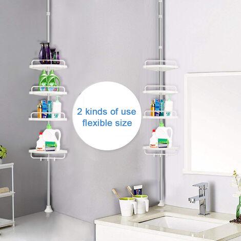 Skecten® Etagère d'angle de douche télescopique acier inoxydable / polypropylène avec 4 tablettes blanches