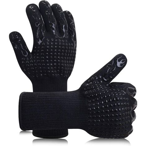 Barbecue gloves Anti-slip silicone oven gloves with a maximum temperature of 800 ° C.Gants to grill furnaces and kitchen fireplaces (black torches