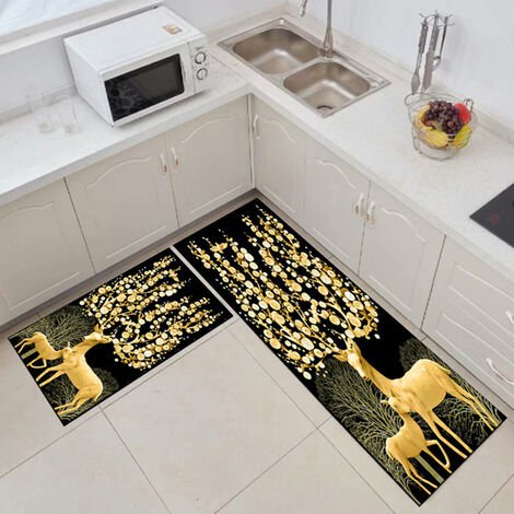 Kitchen floor mats, kitchen mats, 2 pieces of water and oil resistant 40 * 60 + 40 * 120cm b
