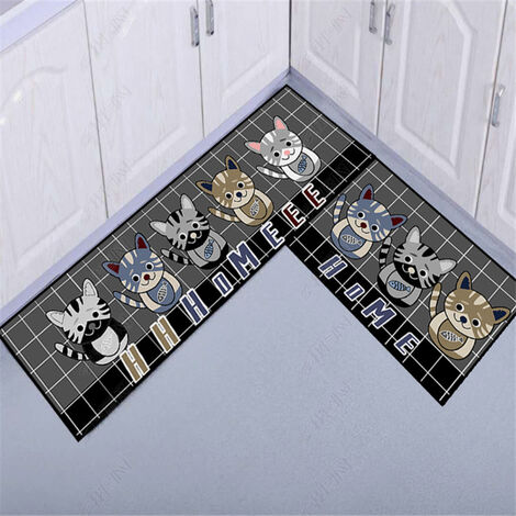Kitchen floor mats, kitchen mats, 2 pieces of water and oil resistant 40 * 60 + 40 * 120cm c