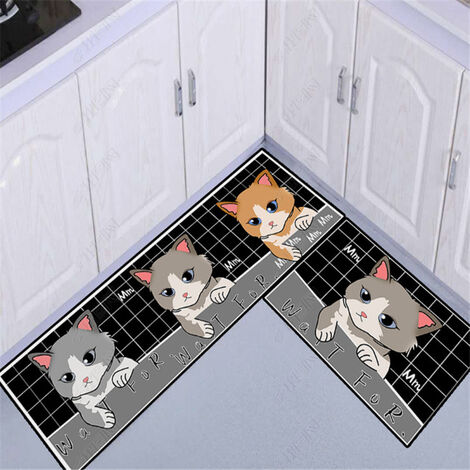 Kitchen floor mats, kitchen mats, 2 pieces of water and oil resistant 40 * 60 + 40 * 120cm d