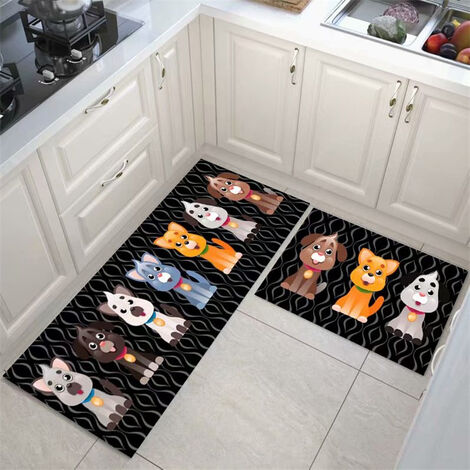 Kitchen floor mats, kitchen mats, 2 pieces of water and oil resistant 40 * 60 + 40 * 120cm A