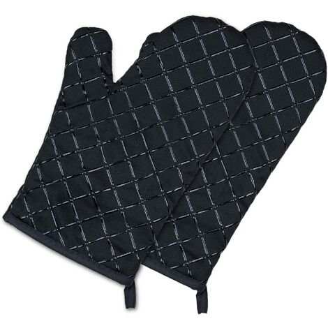 BetterLife Oven Gloves, Kitchen Gloves, Heat Resistant, Waterproof and Non-Slapping, Handling For Oven Barbecue Handling, Cotton Lining - 1 Pair, Black