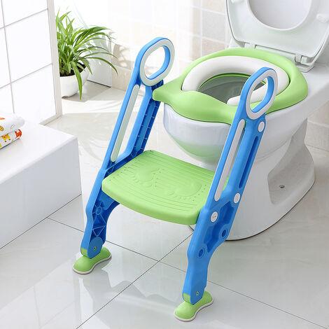 Siège de Toilettes Echellepour Bébé Réglable et Pliable avec Siège Rembourré,Large Marchepied Charge Max.75KG Bleu+Vert - Bleu-vert