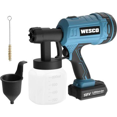 WESCO Pistolet à Peinture,18V 2.0Ah 500ml/min Pulvérisateur Electrique avec 2,5 mm Buse et 3 Modes de Pulvérisation, Récipient Démontable de 800 ml et 50 DIN-s, pour peindre le mur et meuble/WS2342