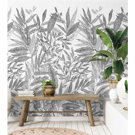 Papier peint decor jungle Noir et Blanc