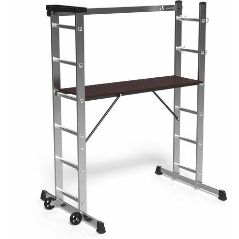VOUNOT 3 en 1 Escalera de Aluminio Combinación, Andamio con Plataforma de Trabajo
