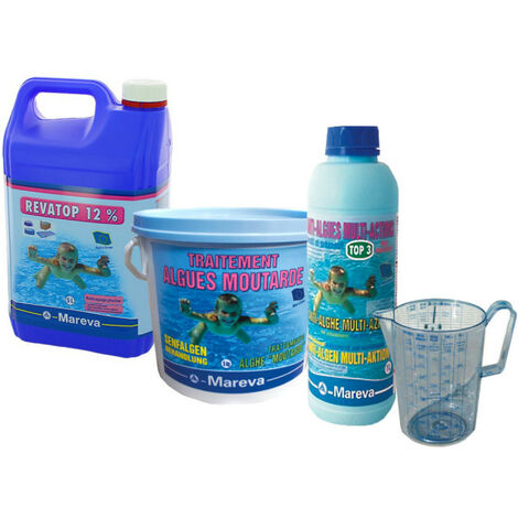 Pack traitement algues moutarde MAREVA pour piscine - Désinfectant - Clarifiant - Pichet doseur