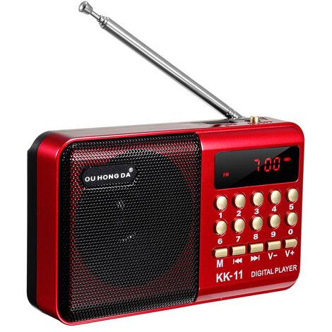 FM Radio Portable Carte Enfichable / écouteurs Bouton Numérique MP3