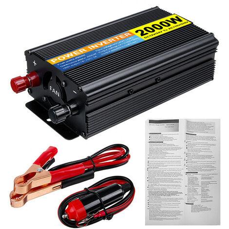 Onduleur à onde sinuso?dale pure 2000W Convertisseur DC 12V-220V AC avec pince de batterie 3.1A Chargeur de voiture USB