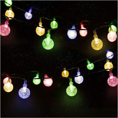 Guirlande Solaire Extérieure, 4.5m 30 LED Guirlande Lumineuse Boules Cristal avec 2 Modes d'éclairage Lumière Décoration pour Noël, Arbre, Jardin, Terrasse, Balcon, Multicolore