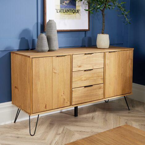 Industrial Wooden Sideboard Cabinet Cupboard Storage Furniture Drawers & Doors
