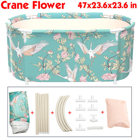 120x60x60cm Baignoire Adulte Enfant Portable PVC Baignoire Pliante Intérieur Maison Spa Seau De Bain (Fleur De Grue)