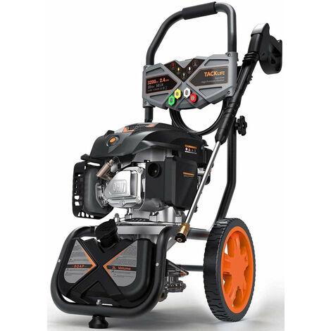 TACKLIFE Hidrolimpiadora de Gasolina, 2800 PSI/190 Bar, 480 L/H, Motor OHV de 4 Tiempos de 209 CC, 6,5 HP, Tanque de jabón, Juego de 5 boquillas, Multiuso, Cumple con Carb - GSH01B
