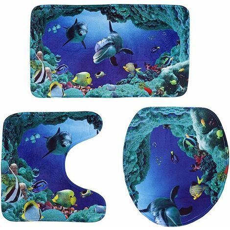 Tappeti da bagno 3 pezzi - motivo oceano