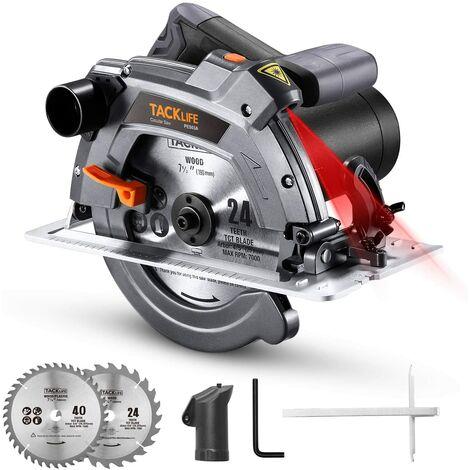 TACKLIFE 1500W Sega Circolare, 5000 giri/minuto, Protezione in Alluminio, 190mm/24T e 185mm/40T Lame, Sega Circolare per Legno con Laser - PES03A
