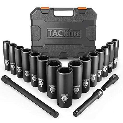 TACKLIFE Set Bussole a Impatto, 18Pcs(Include Set di Prolunghe 3Pcs), Set Chiavi a Bussole Profondo da 1/2 di Pollice, Prese, Metriche, 6 Punti, 10-24mm-HIS1A