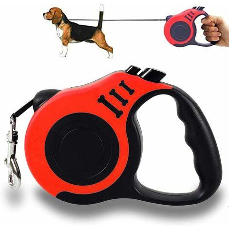 Corde pour chien, corde pour chien rétractable, corde pour chien rétractable, corde de traction rétractable pour petit chien, corde pour chien rétractable, peut être prolongée jusqu'à 5 m, convient aux chiens de petite et moyenne taille (rouge)