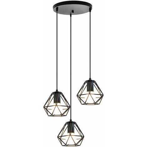 E27 Lampada a sospensione in metallo 3 luci industriale a risparmio energetico creativo lampadario retrò cucina soggiorno ristorante bar Nero - Nero