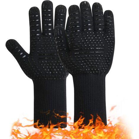Gants de barbecue Gants de four en silicone antidérapants avec une température maximale de 800 ° C.Gants universels pour griller les fours et les cheminées de cuisine (noir