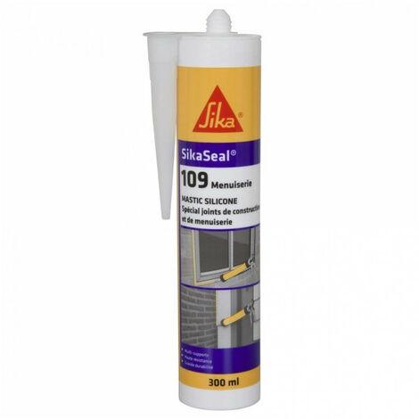 Mastic silicone neutre cartouche 300ml Sikaseal 109 SIKA: translucide, blanc, gris, pierre, noir, anthracite - plusieurs modèles disponibles