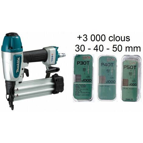 Cloueur pneumatique 8 bar 15-50mm AF506 MAKITA + 3000 clous 30, 40 et 50 mm
