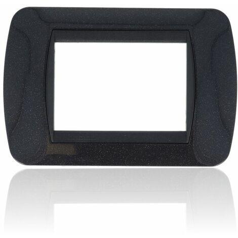 Livinglight placca 3 moduli plastica color acciaio scuro cornice nera l4803pa