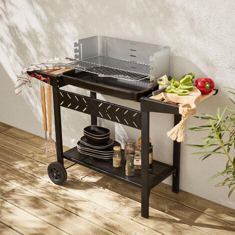 Barbacoa de carbón vegetal - Alfred - Negro y gris, altura de la parrilla ajustable, estantes de madera - Negro