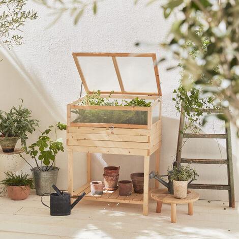 Huerto de madera con patas e invernadero de policarbonato desmontable, MAPLE, 2 en 1, con repisa y geotextil, 80 x 60 x 109 cm. - Madera