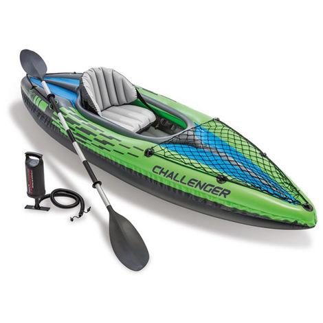 Kit kayak gonflable 1 place Challenger K1 avec rame et gonfleur - Intex