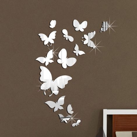 Mirror Effect Butterflies Wall Sticker Pack (Pack of 14pcs)