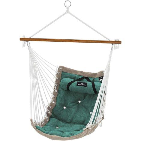 Hängesessel mit Kissen, XL Affenschaukel mit Polsterung, Hängestuhl mit Bambusstange, 70 x 120 cm, bis 200 kg belastbar, Indoor und Outdoor, Rot-grau/Grün-beige