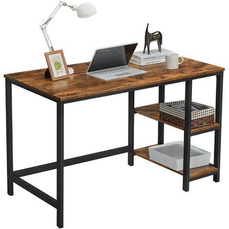 VASAGLE Schreibtisch, Computertisch, PC-Tisch mit 2 Regalebenen wahlweise rechts oder links, Bürotisch fürs Wohnzimmer, mit Metallgestell, einfache Montage, modern, mit Holzmaserung by SONGMICS LWD47N