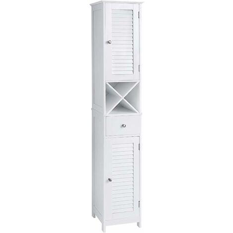 VASAGLE Badezimmerschrank, Hochschrank, Badschrank mit 2 Lamellentüren, Aufbewahrungsschrank mit Schublade, herausnehmbares X-förmiges Regal, 32 x 30 x 170 cm, skandinavischer Stil, Weiß by SONGMICS BBC69WT - Blanc