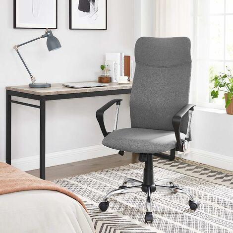 Bürostuhl, ergonomischer Schreibtischstuhl, Drehstuhl, gepolsterter Sitz, Stoffbezug, höhenverstellbar und neigbar, bis 120 kg belastbar, Schwarz/Grau