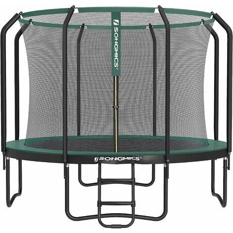 Trampolin 305 cm, rundes Gartentrampolin mit Sicherheitsnetz und Leiter, gepolstertes Gestell, für Kinder und Erwachsene, schwarz-dunkelgrün STR103C01 - schwarz-dunkelgrün