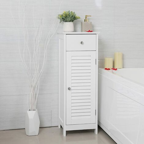 VASAGLE Badezimmerschrank Badschrank Nachttisch Regal Aufbewahrung für Badezimmer aus Holz mit Schublade Lamellentür Weiß 32 x 87 x 30cm by SONGMICS BBC43WT - Blanc