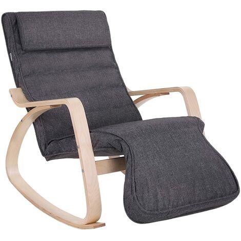 Fauteuil à Bascule, Rocking Chair, avec Repose-Pied, Réglable en 5 Niveaux, Charge Max 150 kg