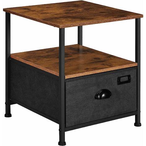 Table de Chevet, Table de Nuit avec Rangement, Table d'appoint à tiroir en Tissu, avec 2 étagères, Style Industriel, pour Salon, Chambre, Marron Rustique et Noir LVT02H