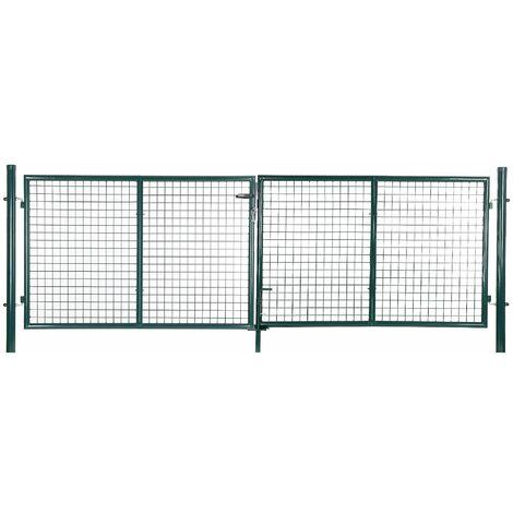 Portillon de jardin avec serrure maille métallique 150 x 320cm GGD300G - Vert